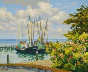 Ad Blok van der Velden | Rozenboompjes aan de haven van Terschelling