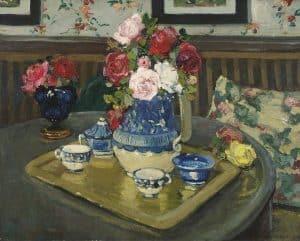 Adrian-Louis Demont | Stilleven met rozen op een tafel