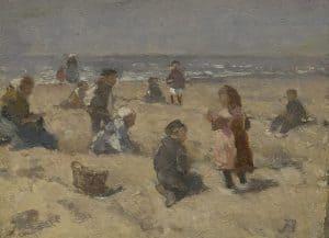 Johannes Evert Hendrik Akkeringa | Spelende kinderen op het strand