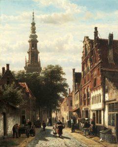 Cornelis Springer | Bedrijvigheid in de Nieuwe Raamstraat te Haarlem met op de achtergrond de toren van de Nieuwe Kerk