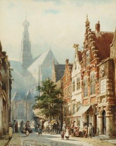 Cornelis Springer | Daily bustle at the St. Jans-street in Haarlem with the St. Bavo Church in the background