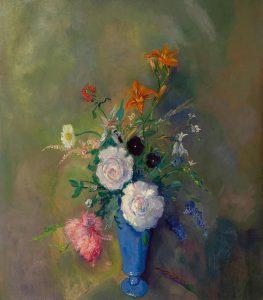 Jan Sluijters | Blauwe vaas met kleurrijke bloemen