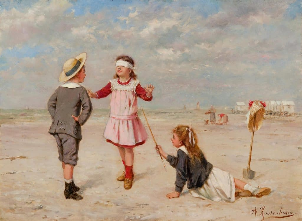 Albert Roosenboom | Blinddoekje spelen op het strand