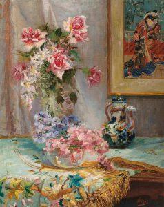 Alexander Tielens | Bloemen in een glazen vaas met op de achtergrond een Japanse prent