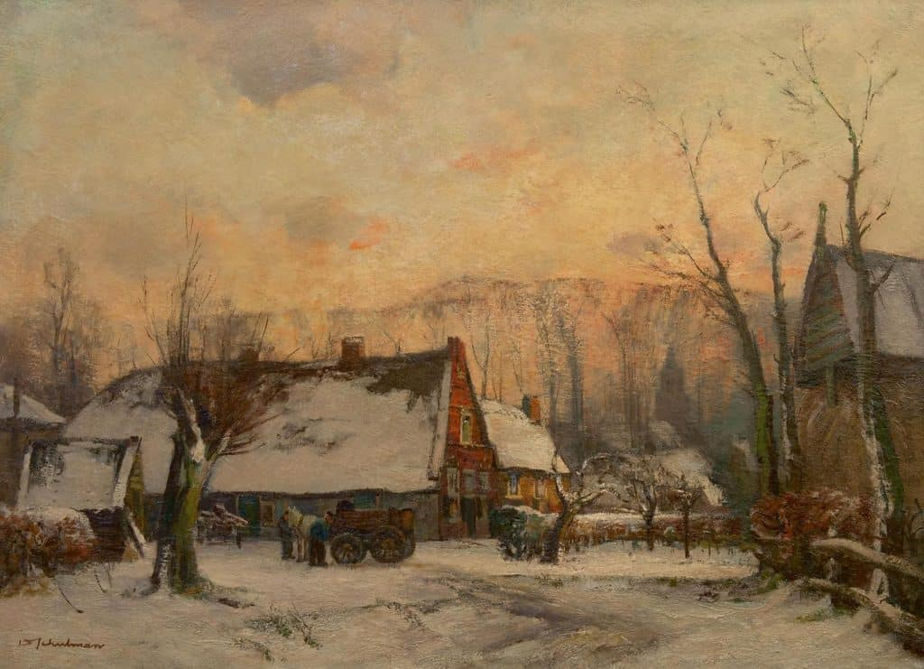David Schulman   Boerderij bij Blaricum op een winteravond