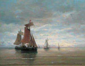 Hendrik Willem Mesdag   Bomschuiten op een kalme zee