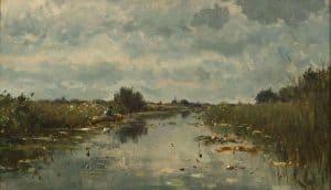 Willem Roelofs | Bootje op de plassen bij Kortenhoef