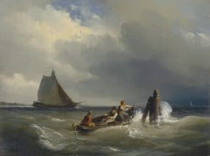 Cornelis Springer | Figures in a rowing boat on turbulent water