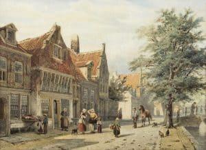Cornelis Springer | Zicht op de Havendijk te Enkhuizen
