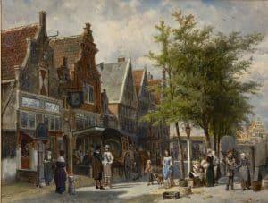 Cornelis Springer | Gezicht op de markttentoonstelling Voedingsmiddelen in Amsterdam