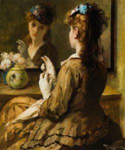 Fernand Toussaint | Dame met hoed voor de spiegel