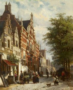 Cornelis Springer | De Kaasmarkt in Enkhuizen met de Waag, bij zomer