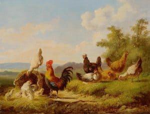 Albert Verhoesen | Een haan, kippen en kuikens bij een korf