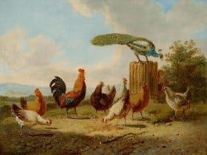 Albert Verhoesen | Een pauw, kippen en een haan in een zonnig landschap