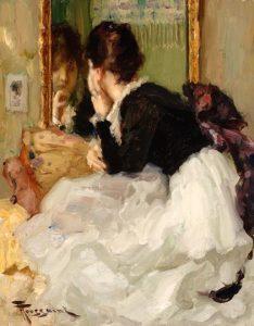 Fernand Toussaint | Elegante dame zittend voor de spiegel
