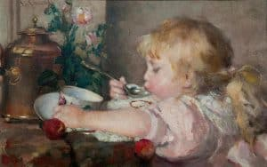 Emma Ekwall | Little girl eating a cup of soup
