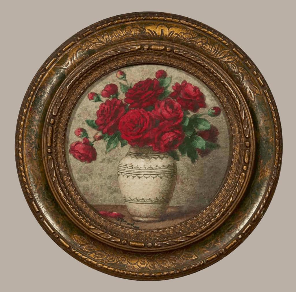 Ernest Filliard | Rode rozen in een vaasje