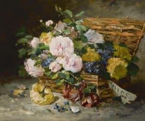 Eugène-Henri Cauchois | A basket with flowers