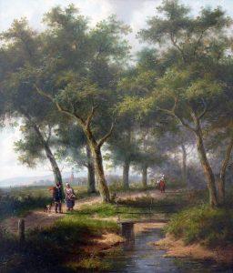 Jan Evert Morel   Figuren in een zomers landschap