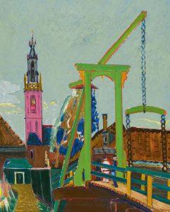 Jan Wiegers | Figuren op de Kwakelbrug met zicht op de Speeltoren te Edam