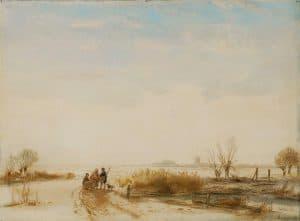 Andreas Schelfhout | Figuren op een bevroren vaart
