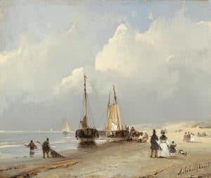 Andreas Schelfhout | Flaneren op het strand