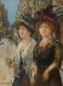 Franz Helfferich | Twee dames in een Haagse straat
