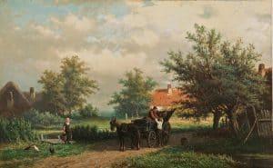 Georgius Heerebaart | Paard en wagen in een zomers landschap