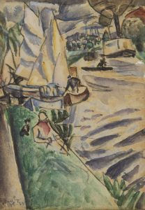Leo Gestel   Summer riverscape with sailboats and a fisherman