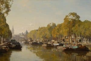 Cornelis Vreedenburgh | Gezicht op de Nieuwmarkt gezien vanaf de Gelderskade, Amsterdam1935