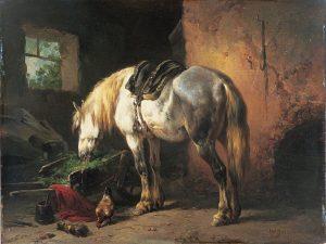 Wouterus Verschuur | Grazend paard in een stal