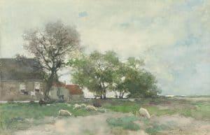 Hendrik Johannes Weissenbruch | Grazende schapen bij een boerderij