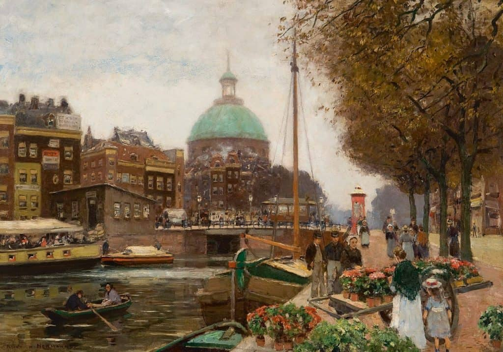 Heinrich Hermanns | Het Singel te Amsterdam met de Ronde Lutherse Kerk
