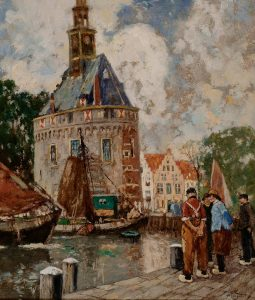 Henry Cassiers | Vissers in de haven van Hoorn bij de hoofdtoren