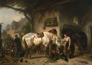 Wouterus Verschuur | Het voederen van de paarden bij een uitspanning