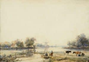 Andreas Schelfhout | Hollands rivierlandschap met figuren en vee