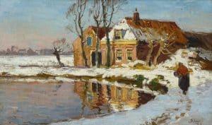 Ben Viegers   Huisje te Loosduinen in de winter