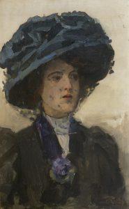 Isaac Israëls   An elegant woman with blue hat