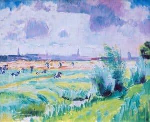 Jan Altink   Koeien in een zomers landschap met Groningen in het verschiet