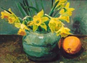 Jan Altink   Stilleven met narcissen in een pot en een sinaasappel