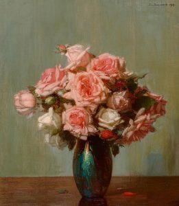 Jan Bogaerts | Roze roosjes in een vaas