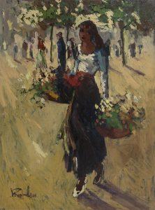 Jan Rijlaarsdam | Bloemenmeisje op een plein