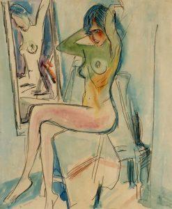 Jan Wiegers | Zittend naakt voor een spiegel