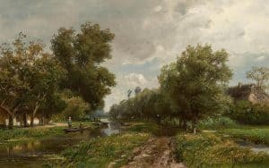 Jan Willem van Borselen | Zomers landschap met figuren langs een vaart