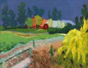 Jannes de Vries | Gronings landschap met rode boerderij