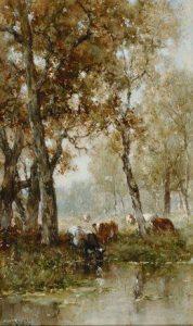 Willem Roelofs | Koeien aan de waterkant