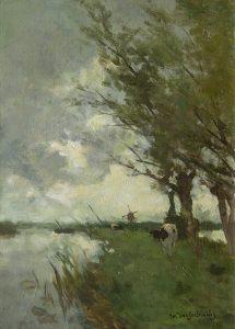 Hendrik Johannes Weissenbruch | Koeien bij een poldervaart