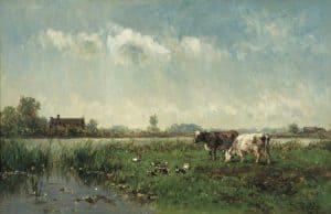 Willem Roelofs | Koeien en eenden in een polderlanschap
