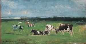 Hendrik Johannes Weissenbruch | Koeien in een polderlandschap