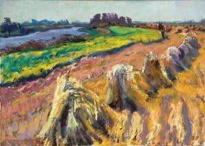 Jannes de Vries | Landschap met korenschoven bij het Reitdiep (omgeving Garnwerd)